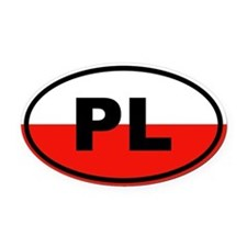 Poland flag Oval Car Magnet