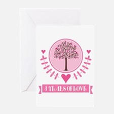3rd Anniversary Love Tree Greeting Card