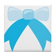 simple Blue Bow Tile Coaster
