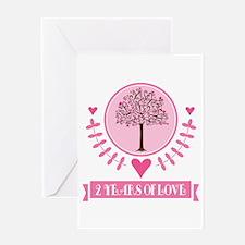 2nd Anniversary Love Tree Greeting Card