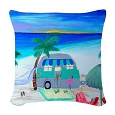 Airstream Camper Woven Throw Pillow