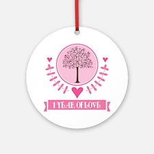 1st Anniversary Love Tree Ornament (Round)
