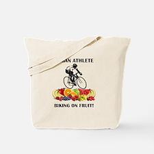 Vegan Athlete Biking on Fruit Tote Bag