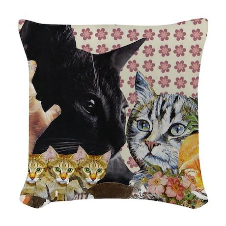 Creative Cats Woven Throw Pillow