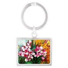 ORCHIDS PAINTING ON SILK Landscape Keychain