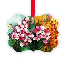 ORCHIDS IN PINK AND YELLOW Ornament