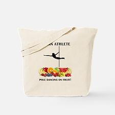 Vegan Athlete Pole Dancing on Fruit Tote Bag