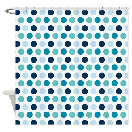 Trendy blue polka dots shower curtain by Trendy curtains