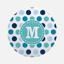Blue Polka Dots with Monogram Ornament (Round)