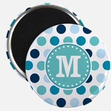 Blue Polka Dots with Monogram Magnets