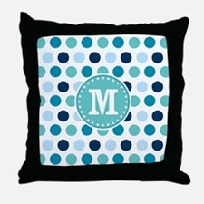 Blue Polka Dots with Monogram Throw Pillow