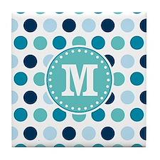 Blue Polka Dots with Monogram Tile Coaster
