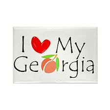 Love my Georgia Peach Rectangle Magnet (100 pack)