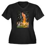 Fairies & Boston Terrier Women's Plus Size V-Neck