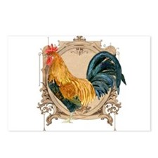 Watercolor Rooster, Country French Rustic Antique