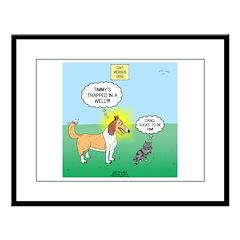 Cat vs Dog Large Framed Print