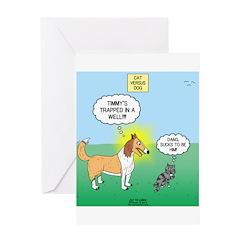 Cat vs Dog Greeting Card