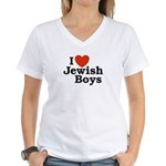 I Love Jewish Boys Women's V-Neck T-Shirt