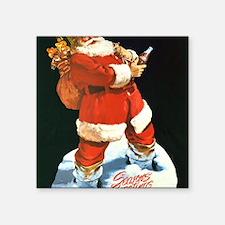"Santa Seasons Greeting Chri Square Sticker 3"" x 3"""