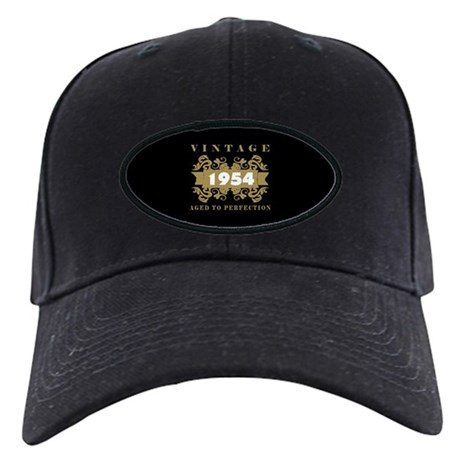 Vintage 1954 Birth Year Black Cap