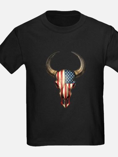 American Flag Bull Skull T-Shirt