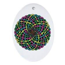 colorful celtic spiral knot Oval Ornament