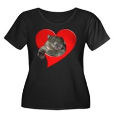 Wombat Love Women's Plus Size Scoop Neck Dark Top
