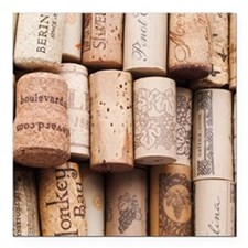 "Wine Corks  Square Car Magnet 3"" x 3"""