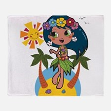 Hula Girl Throw Blanket