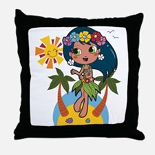 Hula Girl Throw Pillow