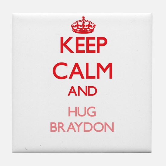 Keep Calm and HUG Braydon Tile Coaster