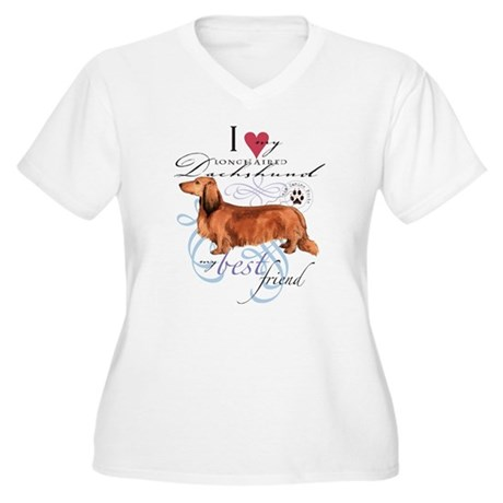 Longhaired Dachsh Women's Plus Size V-Neck T-Shirt