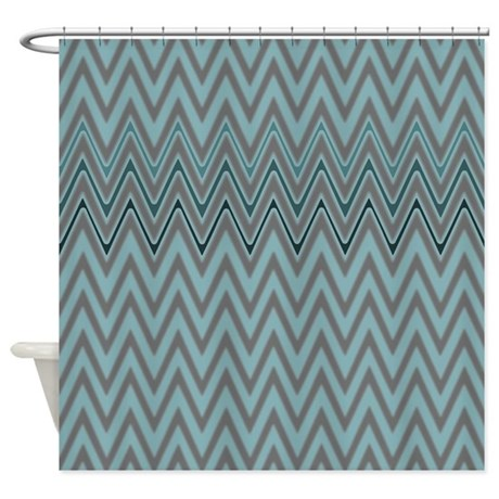 Blue And Gray Zigzag Pattern Shower Curtain By ZazzlingShowerCurtains