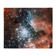 Space galaxy nebula bright stars nas Throw Blanket