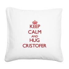 Keep Calm and HUG Cristofer Square Canvas Pillow