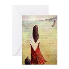Woman in shawl waiting Greeting Card