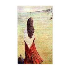 Woman in shawl waiting Decal