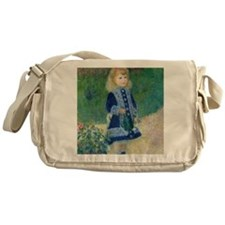 A Girl with a Watering Can by Renoir Messenger Bag