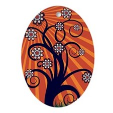 Whimsical Spring Tree Blossoms Oval Ornament