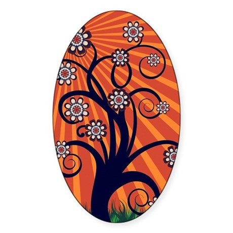 Whimsical Spring Tree Blossoms Oval Car Magnets by Webgrrl | Cafepress