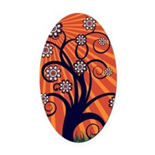 Whimsical Spring Tree Blossoms Oval Car Magnet