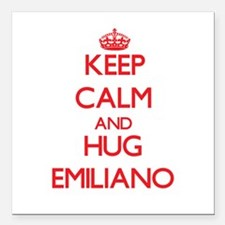 "Keep Calm and HUG Emiliano Square Car Magnet 3"" x"
