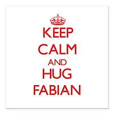 "Keep Calm and HUG Fabian Square Car Magnet 3"" x 3"""
