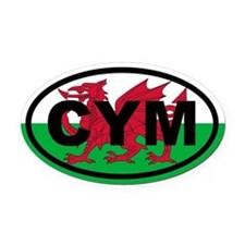 Wales CYM flag Oval Car Magnet
