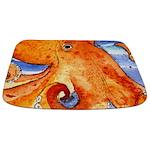 Orange Octopus Watercolor Bathmat