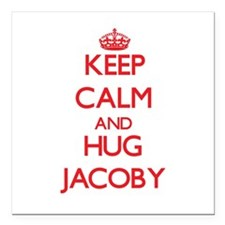 """Keep Calm and HUG Jacoby Square Car Magnet 3"""" x 3"""""""