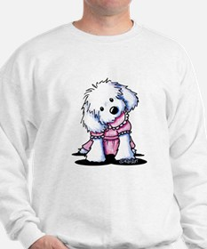 Maltese Girl In Pink Sweatshirt