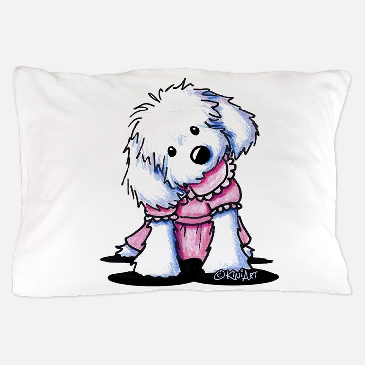 Maltese Girl In Pink Pillow Case