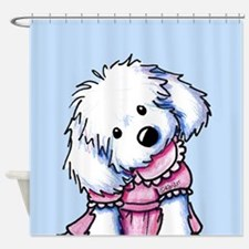 Maltese Girl In Pink Shower Curtain
