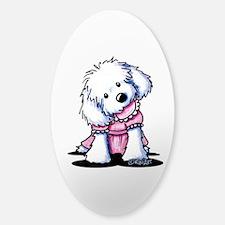 Maltese Girl In Pink Sticker (Oval)